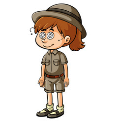 Little girl in safari oufit with dizzy face vector