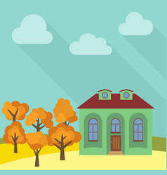 lone house in a field with an yellow tree vector image