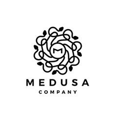 m letter medusa gorgona logo icon vector image
