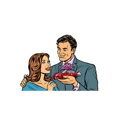 man and woman car gift isolate on white vector image
