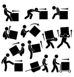 Man moving box actions postures stick figure vector