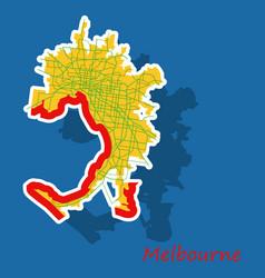 melbourne australia map in retro style sticker vector image
