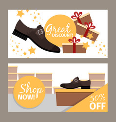 Men shoes horizontal flyers for store vector