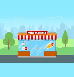 Mini market shop vector