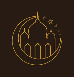 Mosque golden outline crescent symbol logo design vector