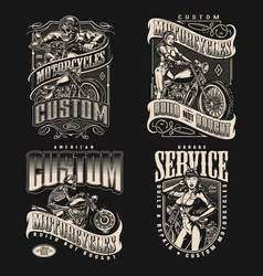 Motorcycle vintage labels vector