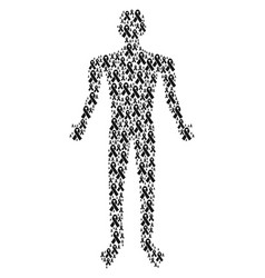 Mourning ribbon man figure vector