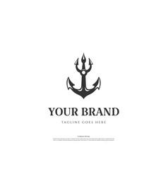 Old hipster retro vintage anchor trident logo vector