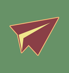 Paper airplane sign cordovan icon and vector