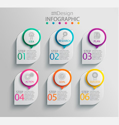 paper infographic template with 6 options vector image