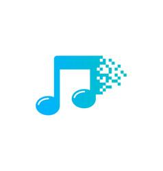 pixel music logo icon design vector image