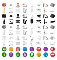 plumbing fitting cartoon icons in set collection vector image