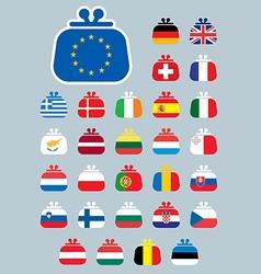 purseflag euro icons vector image