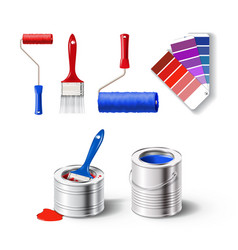 realistick set of paint tools vector image