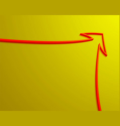 Red arrow outline on yellow background vector