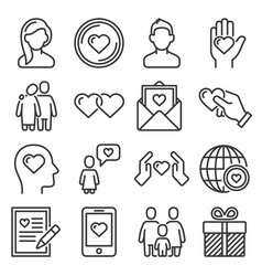 relationship love and wedding icons set on white vector image
