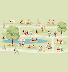 resting people in park set vector image