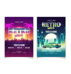 Retro wave music performance flyer template vector