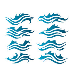 river water waves silhouettes vector image