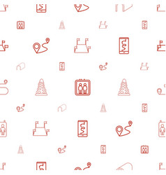route icons pattern seamless white background vector image