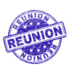 Scratched textured reunion stamp seal vector