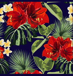 seamless pattern red lilies plumeria flowers vector image