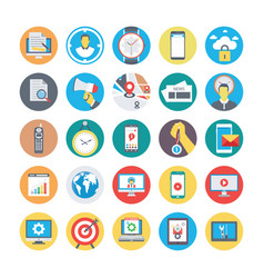 Seo and marketing flat circular icons 2 vector