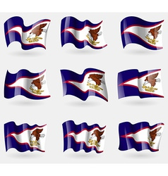Set of American Samoa flags in the air vector image