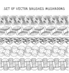 Set of borders brush mushrooms vector