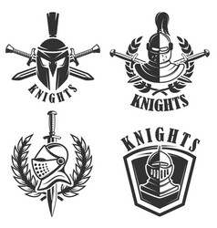 Set of the emblems with knights helmets vector