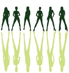 Six girl posing silhouette vector