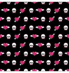 skulls and hearts vector image