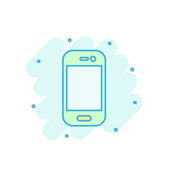 smartphone icon in comic style phone handset vector image