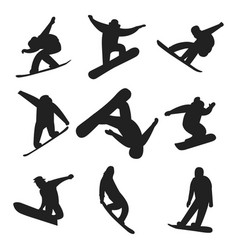 Snowboarder jump in different pose silhouette vector