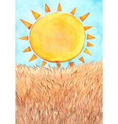 Sun with brown meadow watercolor vector