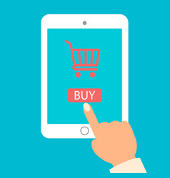 tablet and hand with basket online shop e vector image