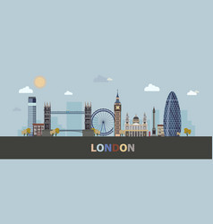 The modern and historic buildings of london in a vector