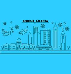 united states atlanta winter holidays skyline vector image