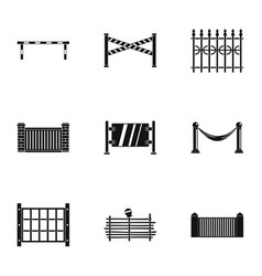 Urban fence icons set simple style vector