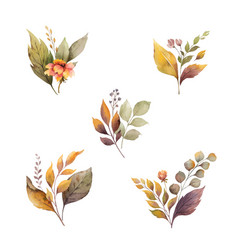 watercolor autumn set with leaves and vector image