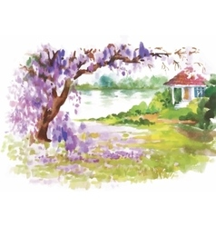 Watercolor landscape of river with flowers vector image