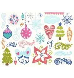 winter hand drawn elements vector image