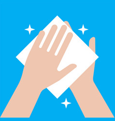Wipe your hands with a napkin hand cleaning icon vector