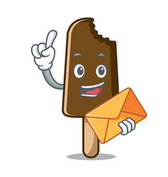 with envelope chocolate ice cream character vector image