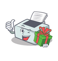 With gift printer mascot cartoon style vector