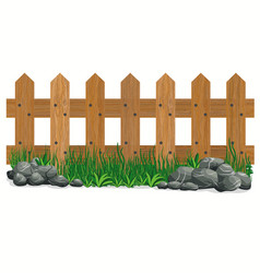 wooden fence stones and grass garden fences vector image