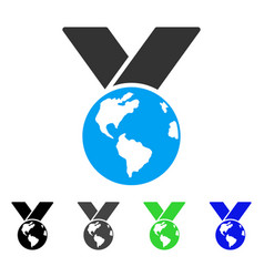 World medal flat icon vector