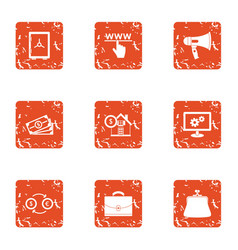 www cash icons set grunge style vector image