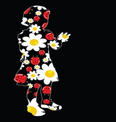 Young girl with daisy and ladybug vector