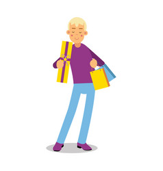 Young smiling blonde man in purple pullover vector